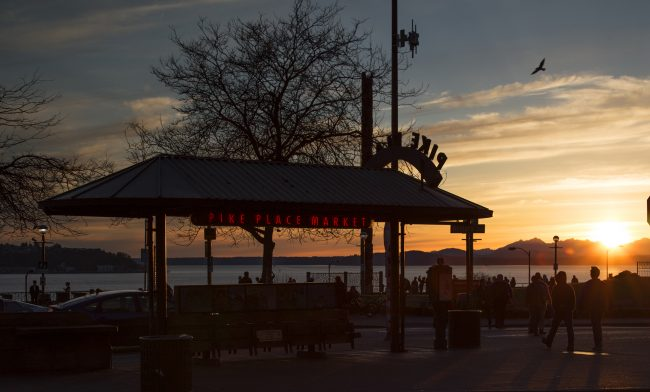 Pike Place Market Waterfront and Sunset