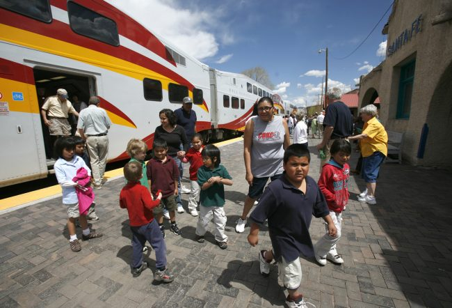 Children Exit the Santa Fe Railyard Redevelopment