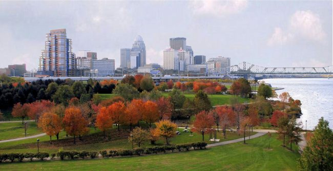 Louisville Waterfront Park with Autumn Foliage